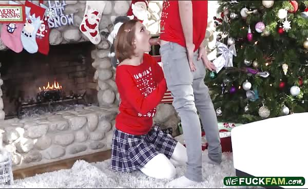 Cute Brunette Teen Stepsis Gets Screwed Near The Fireplace
